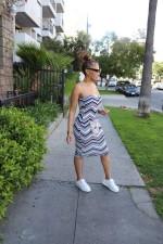 Sexy Striped Off Shoulder Tube Dress LINW-W9300