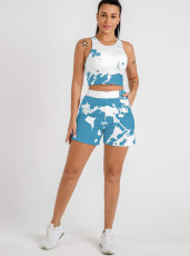 Casual Printed Tank Top And Shorts 2 Piece Sets LINW-W9308