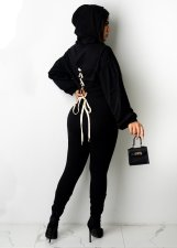 Solid Hooded Lace Up Long Sleeve 2 Piece Sets OM-1277