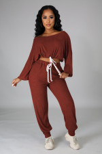 Casual Loose Solid Long Sleeve 2 Piece Pants Set LINW-W9324