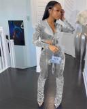 Sexy Velvet Long Sleeve Stacked Pants 2 Piece Sets XMEF-X1147