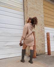 Casual Loose Thick Long Sleeve Shirt Dress XMEF-X1070