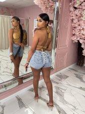 Denim Lace Up Skinny Jeans Shorts XMEF-X1134