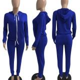 Solid Zipper Hoodie Drawstring Long Sleeve 2 Piece Pants Set XMEF-X1152