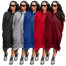 Plus Size Solid Split Casual Loose Midi Hoodie Dress DYF-1087
