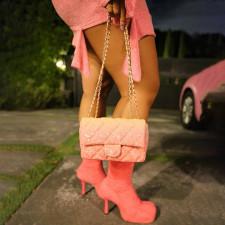 Pink Polar Fleece Long Sleeve Mini Skirt 2 Piece Sets CTHF-9098