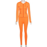 Solid Casual Sports Hooded Zipper 2 Piece Sets XEF-1738394