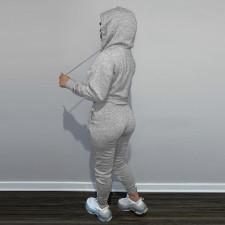 Casual Solid Plush Hoodie 2 Piece Pants Set FSL-F175