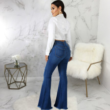 Plus Size Denim Ripped Hole Flared Jeans HSF-2596