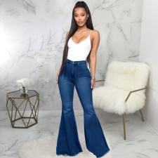 Plus Size Denim High Waist Flared Jeans Pants HSF-2599