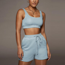 Casual Solid Tank Top And Shorts 2 Piece Suits XEF-S00986