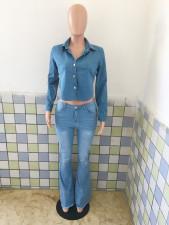 Denim Sexy Backless Long Sleeve Top LX-3515