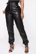 PU Leather Pockets Casual Pants MEM-8257