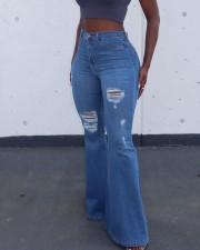 Denim Ripped Hole Flared Jeans Pants LSD-81047