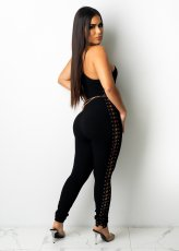 Sexy One Shoulder Lace Up Skinny Jumpsuit LSD-81045
