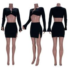 Black Zipper Flare Sleeve Mini Skirt 2 Piece Sets GZYF-YF8030