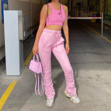Pleated Drawstring Casual Pile Pants FL-21427
