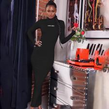 Sexy Slim Letter Print Long Sleeve Maxi Dress FL-27405