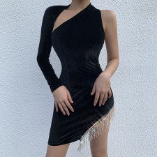 Sexy One-shoulder Diamond Tassel Slim Party Dress FL-92372