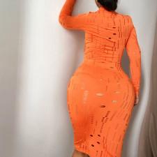 Sexy Hollow Long Sleeve Midi Dress (Without Belt) FL-21042