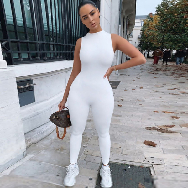 Solid Sexy Sleeveless Tight Jumpsuit XEF-P1736513