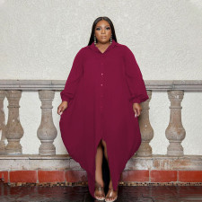 Plus Size Solid Full Sleeve Buttons Loose Long Shirt Dress PHF-13259