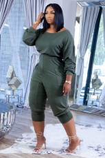 Casual Solid Long Sleeve Stacked Jumpsuit XYF-9118