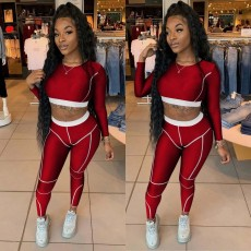 Casual Sport Long Sleeve Crop Top And Pants 2 Piece Sets QZYD-YD1076