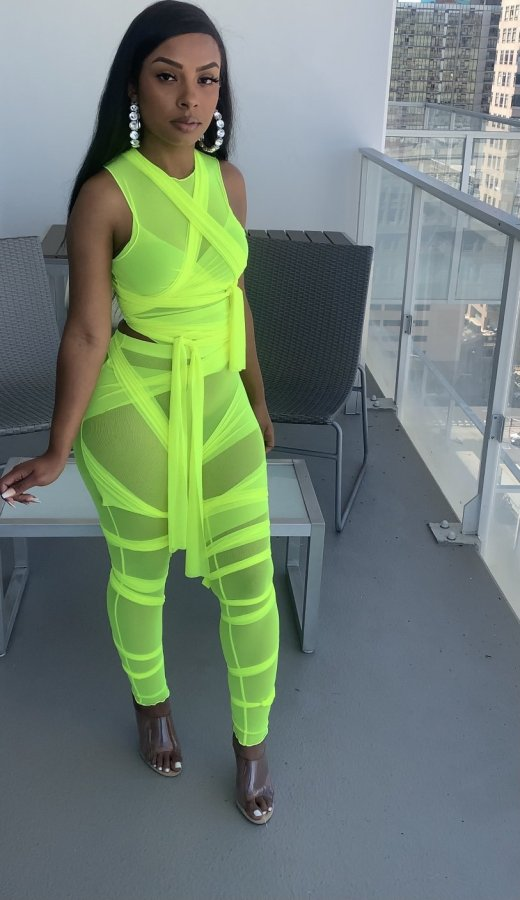 Fashion Solid Color Sleeveless Top And Pants 2 Piece Set QZYD-YD1063
