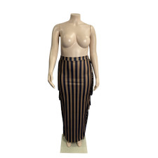Plus Size Striped Tassel Long Skirt WLDF-80408
