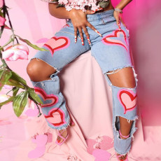 Denim Ripped Hole Print Straight Jeans Pants XEF-P02349