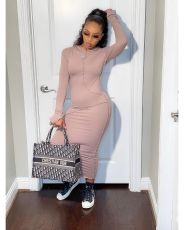 Fashion Casual Long Sleeve Hooded Long Dress QZYD-YD1073