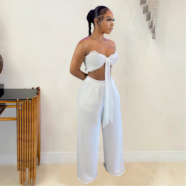 Solid Color Chiffon Wrap Chest Wide Leg Pants Two Piece Sets QZYD-YD1056