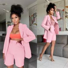 Pink Full Sleeve Blazer And Shorts OL 2 Piece Suits YHDF-60056