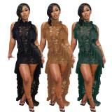 Sleeveless Lace Lotus Leaf Gets Mop The Floor Dress QZYD-YD1055