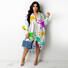 Casual Loose Printed Drawstring Hem Shirt Dress GHF-072