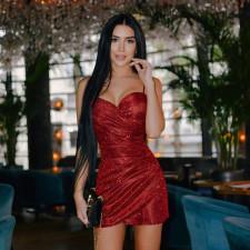 Sexy Shiny Spaghetti Strap Zipper Party Club Dress FL-YJ21054
