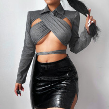 Sexy Hollow Out Long Sleeve Bandage Crop Top FL-SY21254