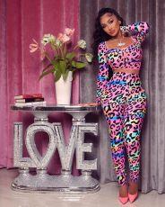Leopard Print Long Sleeve 2 Piece Pants Set MWDF-8350
