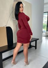 Sexy Hollow Out Long Sleeve Bandage Club Dress MZ-2679