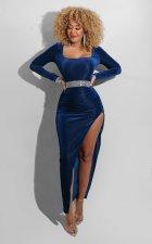 Sexy Velvet Long Sleeve Split Maxi Evening Dress (Without Belt) ZSD-0428