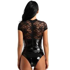 Sexy One-piece Lace See-through Patent Leather Erotic Lingerie YQ-8041