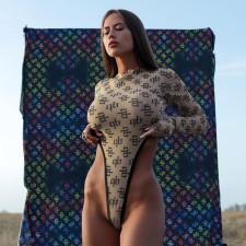 Sexy Printed Long Sleeve Slim Bodysuit FL-21106
