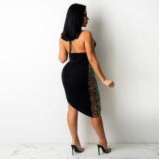 Sexy Sequins Hollow Out Irregular Night Club Dress CYA-9256