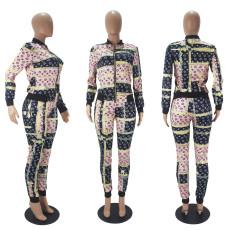 Casual Printed Zipper Jacket And Pants 2 Piece Sets SHD-9519