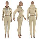 Solid Hooded Zipper Long Sleeve 2 Piece Jogger Sets HHF-9039
