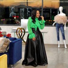Plus Size PU Leather High Waist Big Swing Belted Maxi Skirt OD-8339-1