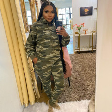 Camo Print Hoodie And Pants Two Piece Suits YIM-222