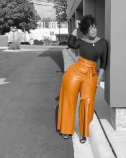 Plus Size PU Leather High Waist Belted Wide Leg Pants OD-8392-2