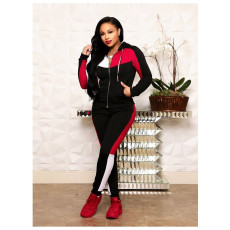 Casual Sports Splice Coat And Pants 2 Piece Sets ORY-5075